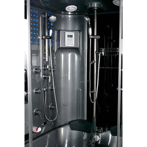 Maya Bath Siena-Gray-Left Drain Computerized Steam Shower 120