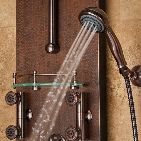 PULSE ShowerSpas Mojave Hammered Copper ORB Shower Panel 1016