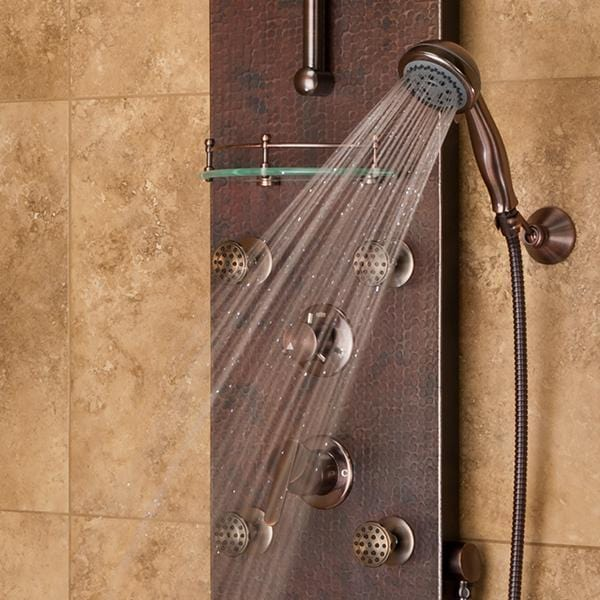 PULSE ShowerSpas Navajo Hammered Copper ORB Shower Panel 1018