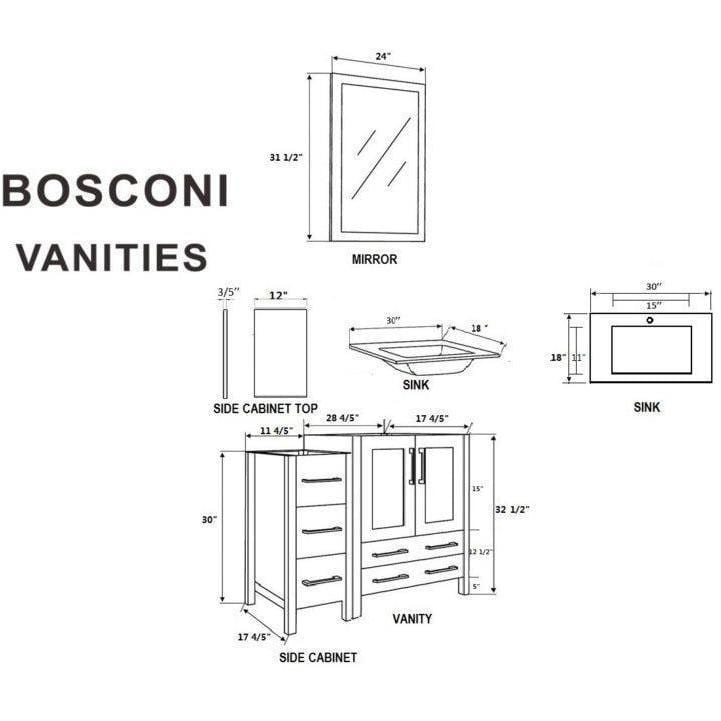 "Bosconi 54"" Single Vanity Bathroom Vanity AB130EWGU2S"