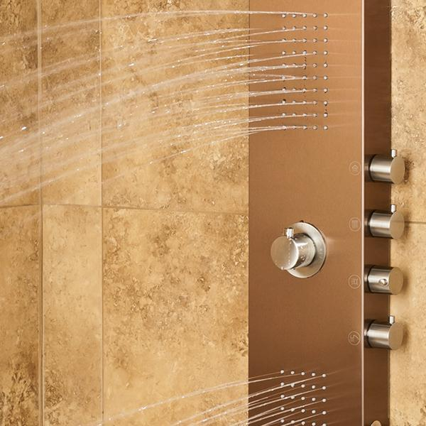 PULSE ShowerSpas Santa Cruz Brushed Bronze Stainless Steel Shower Panel 1033