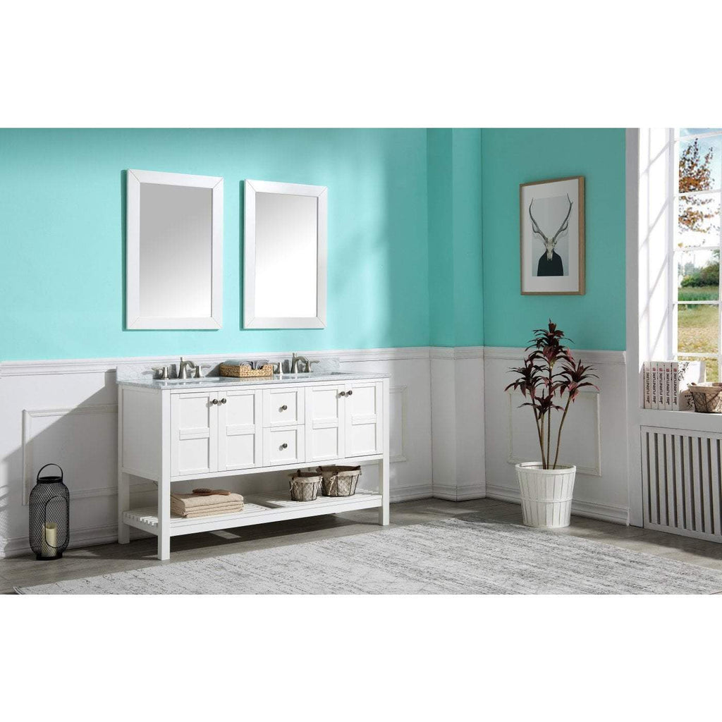 ANZZI Montaigne 60 in. W x 35 in. H Bathroom Vanity Set in Rich White V-MGG011-60