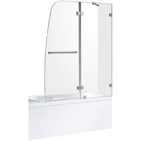 ANZZI Herald Series 48 in. x 58 in. Frameless Hinged Tub Door in Brushed Nickel SD-AZ11-01BN