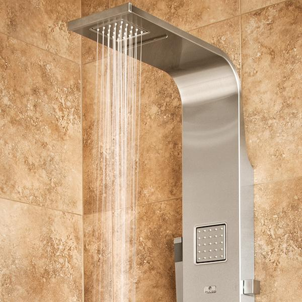 PULSE ShowerSpas Waimea Matte Brushed Stainless Steel Shower Panel 1034