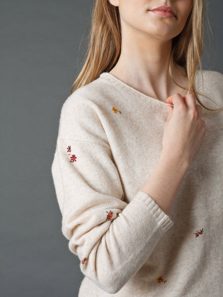 Floral Knitted Sweater - Crudo