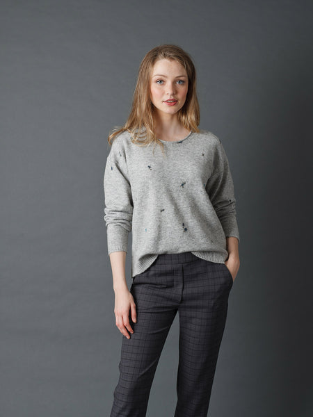 Floral Knitted Sweater - Gris