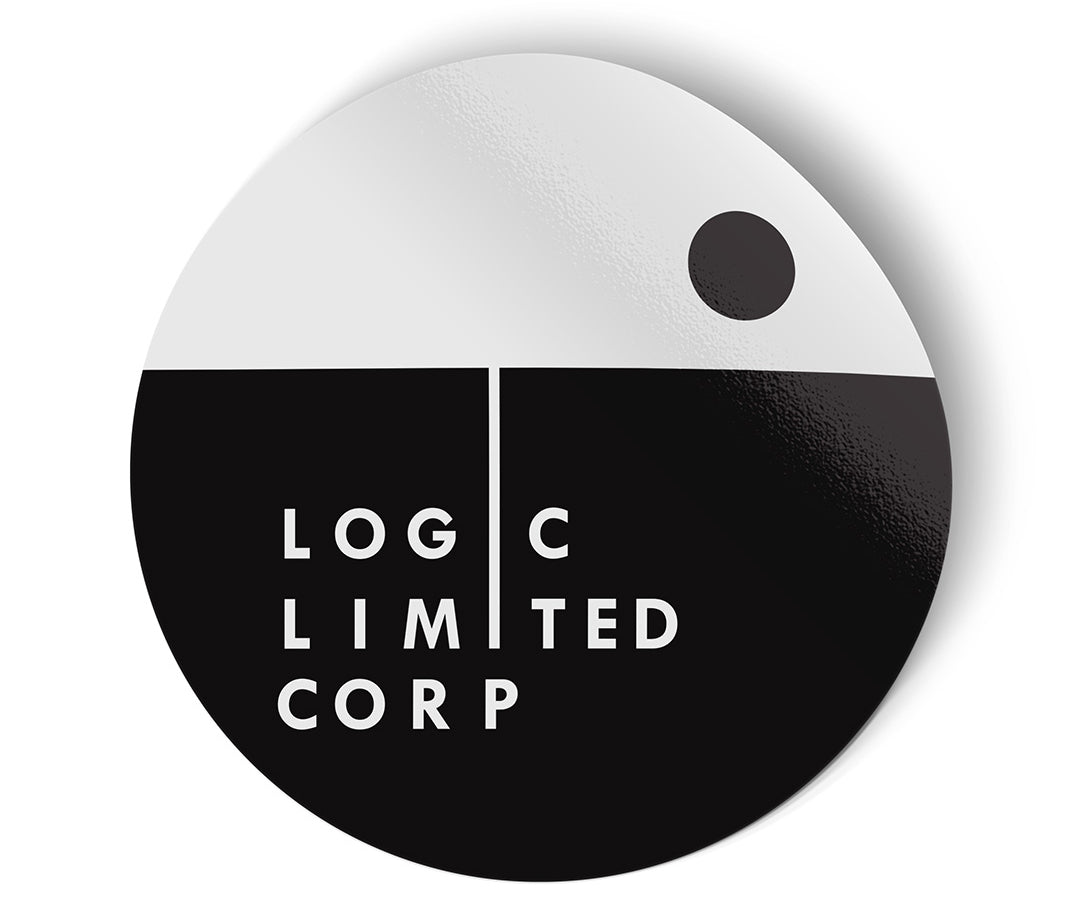 logic limited company logo circle sticker minimalist design