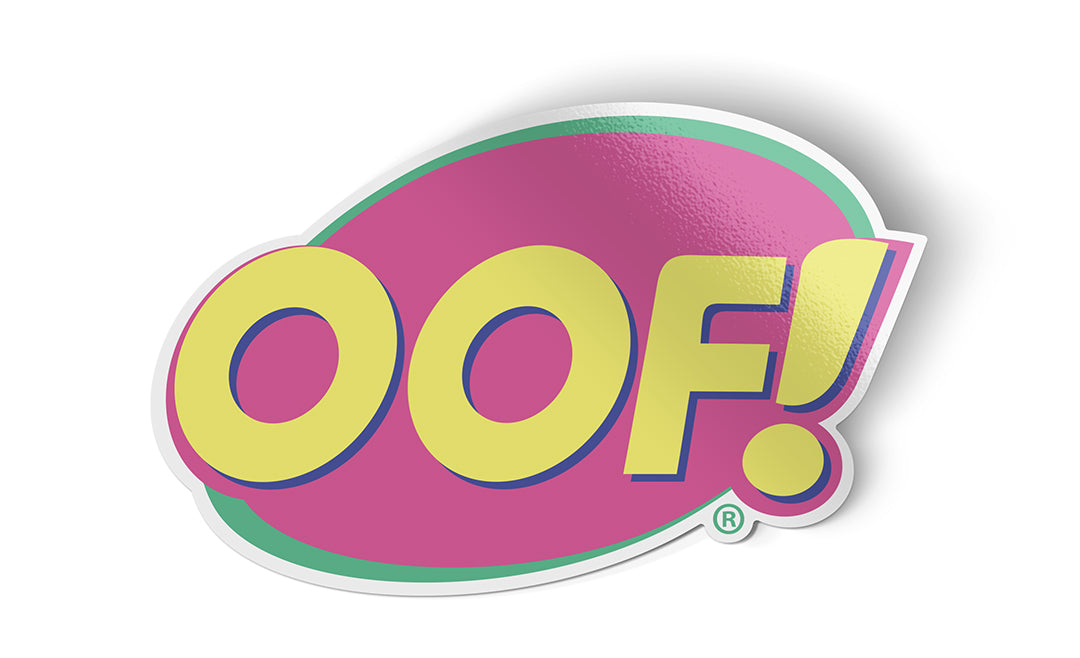 logic limited corp oof! sticker off bug spray parody 90s colors