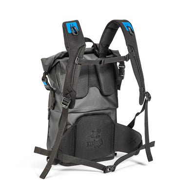 Harness system includes adjustable padded shoulder straps, a height-adjusted sternum strap and a detachable waist strap.