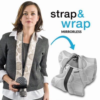 Serves as a camera strap which morphs into a compact and padded camera carrier.