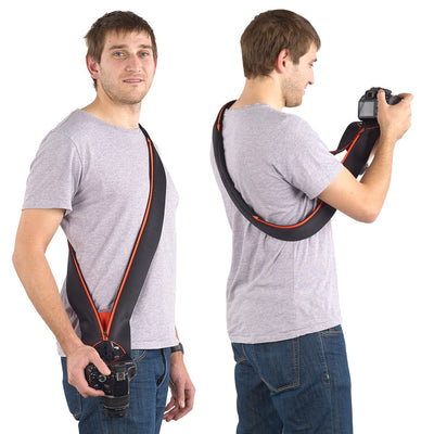 Comfortably carry your DSLR camera across your torso