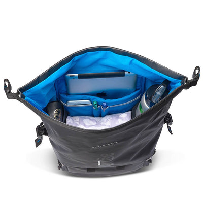 "The upper top-loading compartment offers plenty of room for personal things – while providing the same great protection from rain and dust. A designated slot for a 12"" inch laptop /tablet, an organizer and 2 pockets suitable for water bottles (or a thermos full of hot tea) will keep your stuff organized and easy to reach."