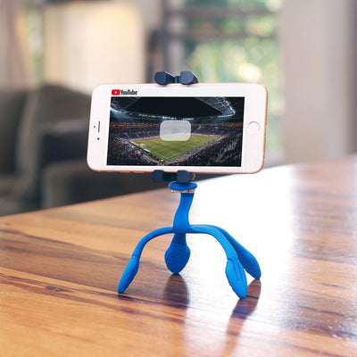 A mounted smartphone on a Splat flexible tripod playing a movie.