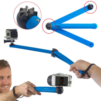 Action pole mode (folded) for selfies or action photography. Action pole mode (open) with the possibility of angle adjustment.