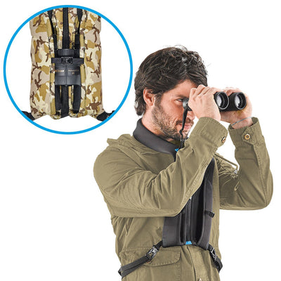 Thanks to the large padded front pockets, the binoculars can be tucked inside or pulled out quickly to use, without the need to cover the eye-pieces with their caps.