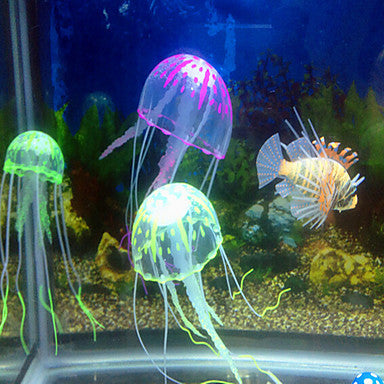 Aquarium Decoration Jellyfish Ornament Adjustable Artificial Non-toxic & Tasteless Noiseless Silicone