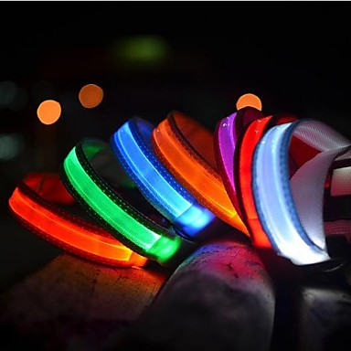 Cat Pets Dog Collar Dog Training Collars LED Lights Electric Glow Solid Colored Nylon Blue Pink Rainbow