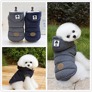 Dog Coat Hoodie Dog Clothes Solid Colored Gray Blue Cotton Costume For Husky Labrador Alaskan Malamute Spring & Fall Winter Men's Women's Keep Warm Windproof Fashion