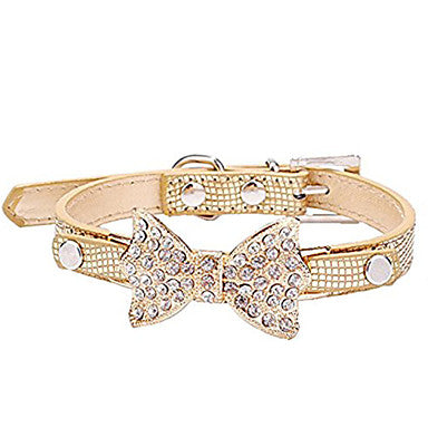 Cat Dog Collar Adjustable / Retractable Rhinestone Bowknot PU Leather Blue Pink Golden