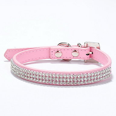 Cat Dog Collar Adjustable / Retractable Rhinestone Solid Colored PU Leather Red Blue Pink