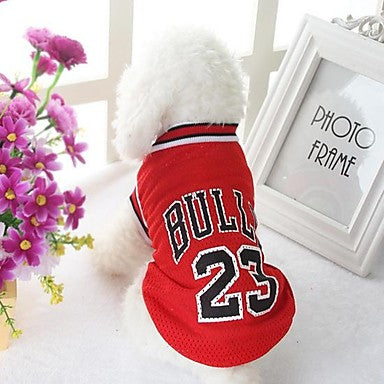 Dog Shirt / T-Shirt Dog Clothes Letter & Number Black Red Polyester Costume For Summer Men's Casual / Daily