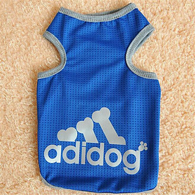 Cat Dog Shirt / T-Shirt Dog Clothes Letter & Number Gray Blue Pink Cotton Costume For Summer Men's Women's Fashion