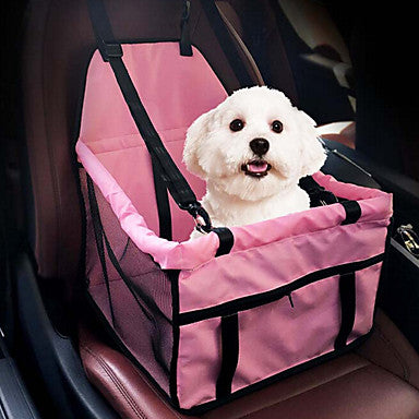 Cat Dog Car Seat Cover Dog Pack Pet Carrier Portable Breathable Double-Sided Solid Colored Gray Pink