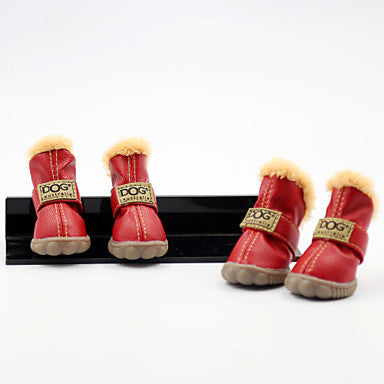 Dog Boots / Shoes Snow Boots Waterproof Keep Warm Fashion Solid Colored For Pets PU Leather Suede Mixed Material / Winter