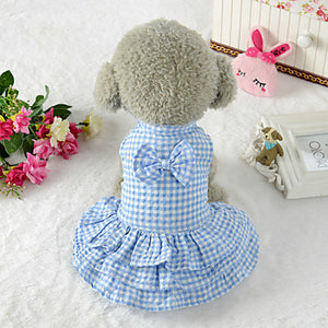 Dogs Dress Dog Clothes Plaid / Check Geometic Bowknot Pink Light Blue 100% Polyester Costume For Summer Unisex Cute Pattern Dress