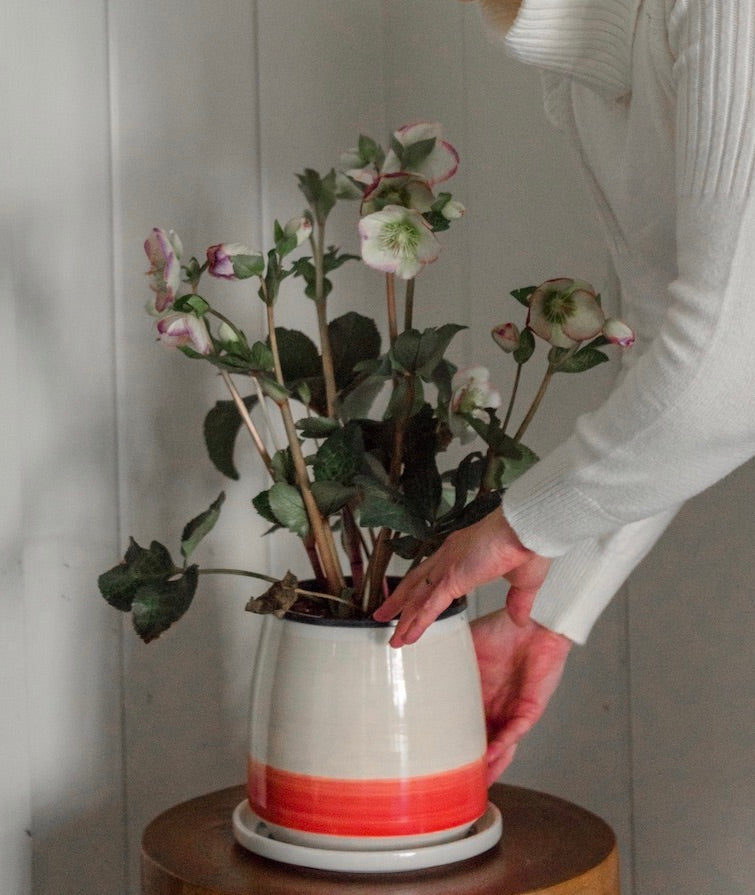 Large Planter with Saucer - Coral