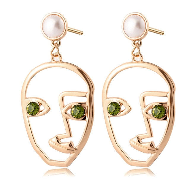 Geometric Face Dangle Earrings