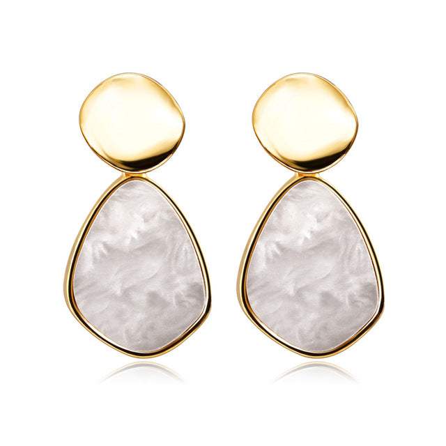 Geometric White Crystal Gold Earrings
