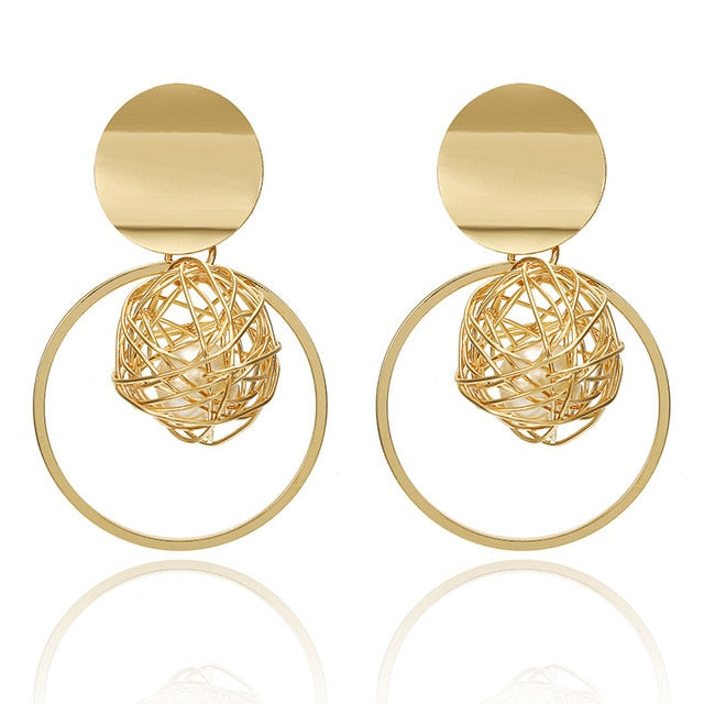 Gold Nest Circle Earrings