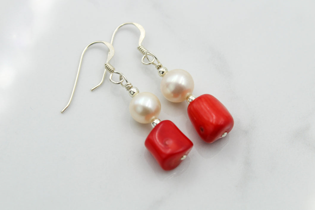 Coral & Pearl Earrings - Empire Gems International