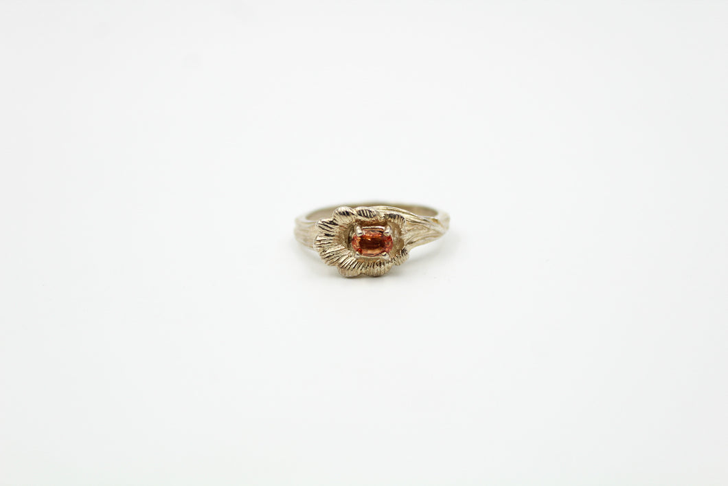 Dainty Golden Citrine Flower Ring