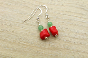 Coral & Jade Earrings - Empire Gems International