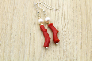 Coral & Pearl Branch Earrings - Empire Gems International