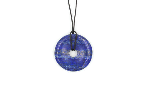 Lapis Circle Pendant, Lapis Donut Necklace