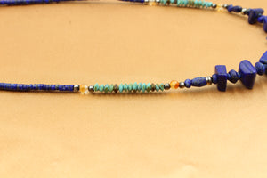 Dainty Lapis & Turquose Choker Necklace - Empire Gems International