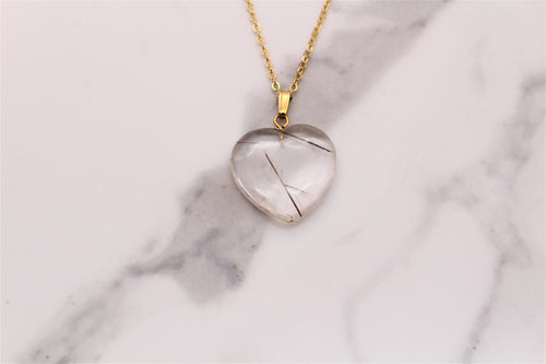 Rutile Quartz Heart Pendant - Empire Gems International