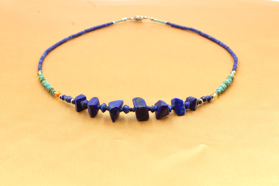 Dainty Lapis & Turquose Choker Necklace