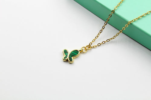 Dainty Malachite Butterfly Necklace