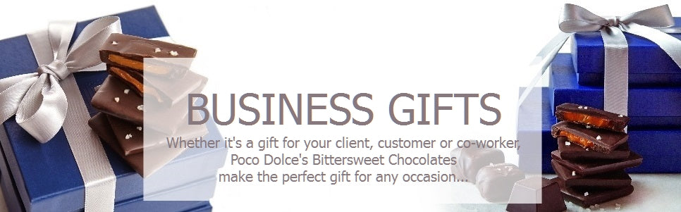 Business Gifts: Whether it's a gift for you boss, coworker, or client, Poco Dolce Bittersweet Chocolates make the perfect gift for any occasion...