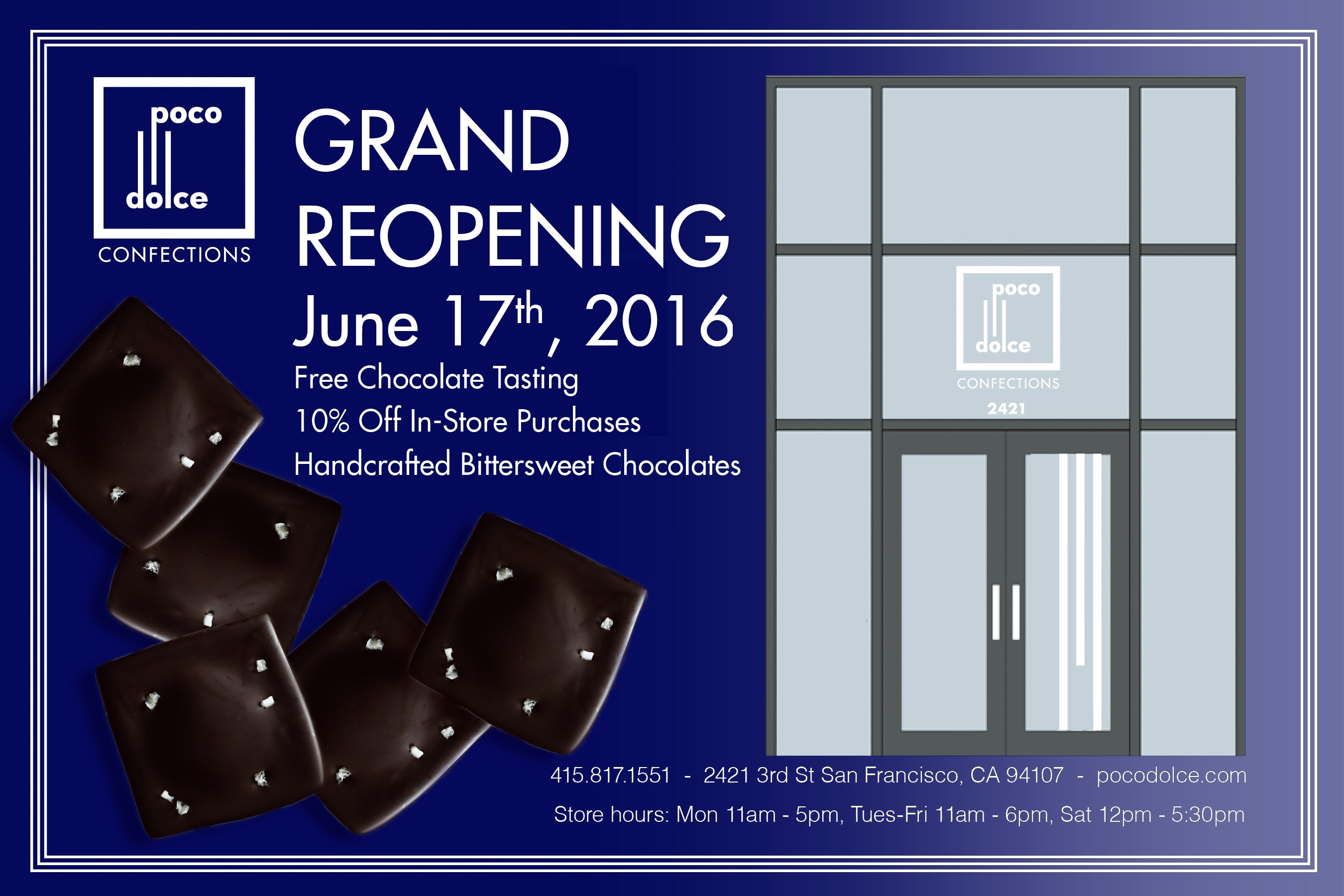 Poco Dolce's Dogpatch Store's Grand Reopening June 17th, 11am-6pm