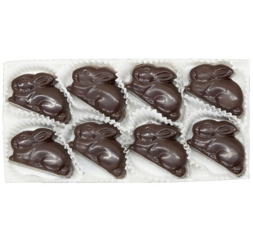 Dark Chocolate Bunnies filled with a raspberry ganache crafted from fresh raspberries