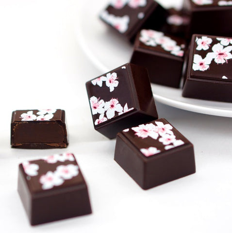 Cherry Blossom design on Chocolate and Olive Oil Truffles