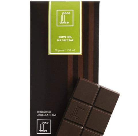 California Olive Oil and Bittersweet Chocolate Bar with a touch of Grey Sea Salt Fine Chocolate Bars