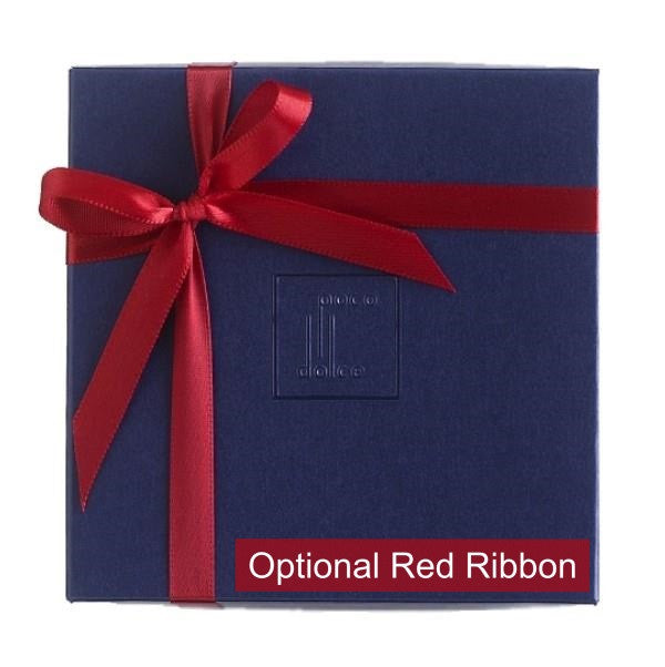 Champagne and Strawberries Truffle Box tied with red ribbon