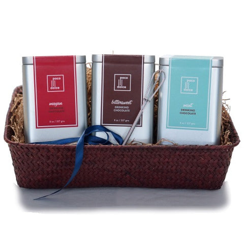 Drinking Chocolate Basket with all 3 flavors includes mini whisk