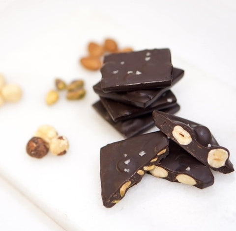 Assorted Bittersweet Chocolates Tiles with Roasted Nuts